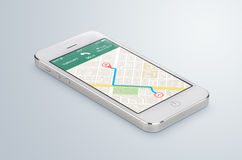El smartphone móvil blanco con la navegación app de los gps del mapa miente en Imagenes de archivo