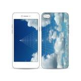 El smartphone móvil con un ejemplo de la pantalla y la cubierta diseñan Cielo azul hermoso, fondo geométrico abstracto Imágenes de archivo libres de regalías