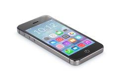 El smartphone móvil negro con los iconos del uso miente en el surfa Fotos de archivo