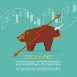 El símbolo de Bull y del oso del mercado de acción con la vela pega el gráfico Imágenes de archivo libres de regalías