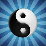 El símbolo de Yin yang en azul irradia el fondo Foto de archivo libre de regalías