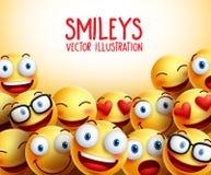 El smiley hace frente al fondo del vector con diversas expresiones faciales Imagen de archivo
