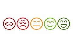 El smiley hace frente a iconos del grado Estudio del cliente, grado, como conceptos ilustración del vector