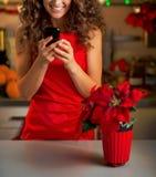 El SMS de la escritura del ama de casa en la Navidad adornó la cocina Imagen de archivo