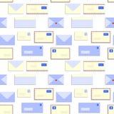 El snail mail pone letras a los sobres modelo inconsútil, vector stock de ilustración