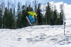 El Snowboarder que salta en las montañas en un fondo del bosque imagen de archivo libre de regalías