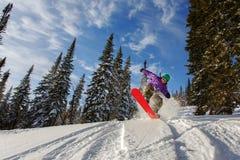 El Snowboarder que salta a través del aire con el cielo azul profundo en fondo Fotografía de archivo