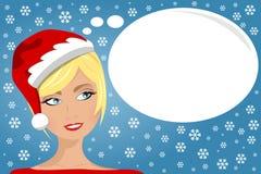 El soñar despierto de pensamiento de Navidad de la cara de la mujer Imagen de archivo