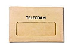 El sobre viejo del telegrama foto de archivo