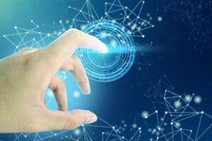 El social de la red del tacto de la mano conecta el fondo psd Foto de archivo