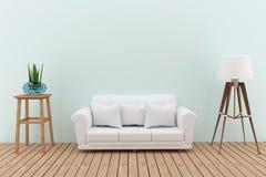 El sofá blanco adorna con el árbol y la lámpara en el diseño interior del sitio verde en 3D rinde imagen Fotos de archivo libres de regalías