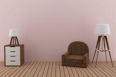El sofá con dos lámparas en el diseño rosado del sitio en 3D rinde imagen Imagenes de archivo