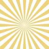El sol amarillo radial estalló haces en el fondo blanco Vector ilustración del vector