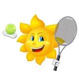 El sol de la historieta está jugando a tenis Foto de archivo