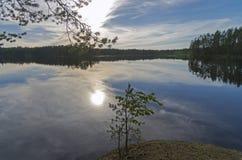 El sol de la tarde se refleja en un pequeño lago Imagen de archivo libre de regalías