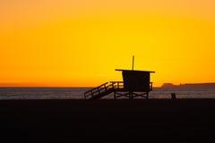 Puesta del sol de la playa de Venecia Fotos de archivo libres de regalías