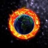 El sol golpea los elementos del planeta stock de ilustración