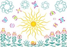 El sol, mariposas, flores Foto de archivo