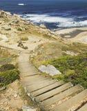El solar de madera abajo a una costa atlántica azul de la playa salvaje, el Cabo de Buena Esperanza, Suráfrica, Cape Town, viaje Foto de archivo