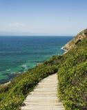 El solar de madera abajo a una costa azul de la playa salvaje del Océano Índico, isla de Robberg, Suráfrica, viaje Imagen de archivo libre de regalías