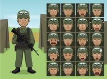 El soldado Cartoon Emotion de la pistola del militar hace frente al ejemplo del vector Imagen de archivo libre de regalías