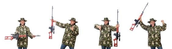 El soldado con las armas aisladas en blanco imágenes de archivo libres de regalías