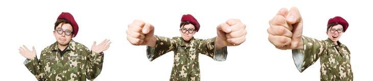 El soldado divertido aislado en blanco fotografía de archivo libre de regalías