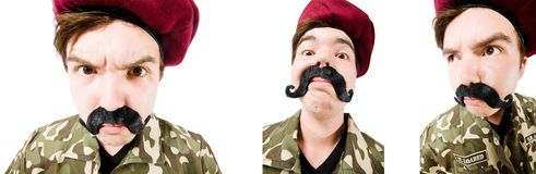 El soldado divertido aislado en blanco imagen de archivo libre de regalías