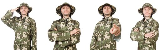 El soldado divertido aislado en blanco imagenes de archivo
