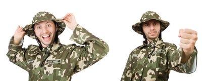 El soldado divertido aislado en blanco foto de archivo libre de regalías
