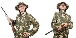 El soldado divertido aislado en blanco fotos de archivo libres de regalías