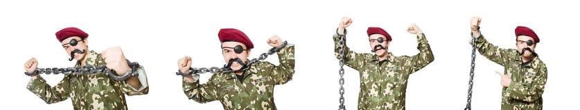 El soldado divertido en concepto militar foto de archivo libre de regalías