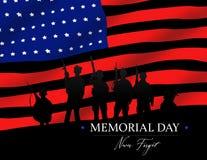 El soldado Memorial Day Never de la bandera americana olvida imagen de archivo libre de regalías
