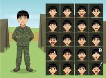 El soldado militar Cartoon Emotion de la mujer hace frente Fotografía de archivo