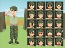 El soldado militar Woman Cartoon Emotion de la ropa de sport hace frente Fotos de archivo libres de regalías