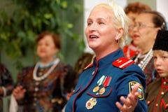 El solista de la gente, cosaco, estribillo ártico del canto del ejército Foto de archivo libre de regalías
