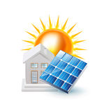 El solo panel solar aislado en blanco libre illustration