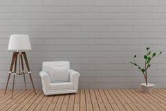 El solo sofá con la lámpara en el cuarto del piso de la pared de ladrillo y de madera en 3D rinde imagen Fotografía de archivo libre de regalías