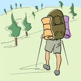 El solo turista con caminar los palillos y la mochila va debajo del valle stock de ilustración