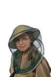 El sombrero del safari de la mujer que lleva en blanco Imagenes de archivo