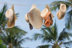 El sombrero en el sol, atmósfera de las mujeres secas del verano fotografía de archivo