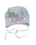 El sombrero gris de los niños con un estampado de plores Imagen de archivo