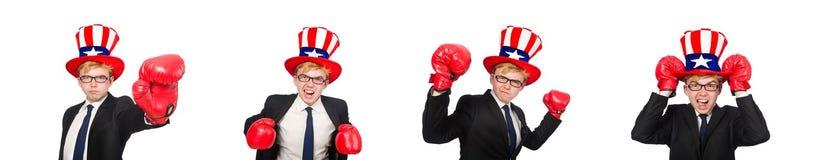 El sombrero que lleva del hombre con s?mbolos americanos imagen de archivo libre de regalías