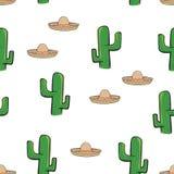 El sombrero y el cactus mexicanos del sombrero del modelo inconsútil en el fondo blanco wallpaper el giftwrap del vector de la ma Imagenes de archivo