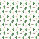 El sombrero y el cactus mexicanos del sombrero del modelo inconsútil en el fondo blanco wallpaper el giftwrap del vector de la ma Imagen de archivo libre de regalías