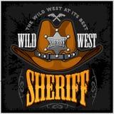 El sombrero y los sheriffs de vaquero protagonizan - vector el emblema de la insignia Fotografía de archivo
