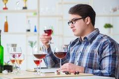 El sommelier profesional que prueba el vino rojo imagen de archivo libre de regalías