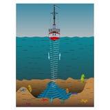 El sonar del uso para medir la profundidad de la parte inferior del mar stock de ilustración