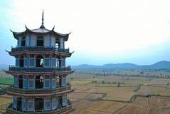 El soporte chino del templo en kanchanaburi Foto de archivo
