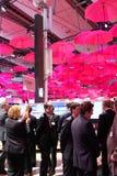 El soporte de Deutsche Telekom el 13 de marzo de 2014 en la expo del ordenador del CEBIT, Hannover, Alemania El CeBIT es Foto de archivo